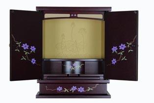 蒔絵紫檀調ミニ仏壇 鉄仙紋(新商品) 膳引き・引出し付き