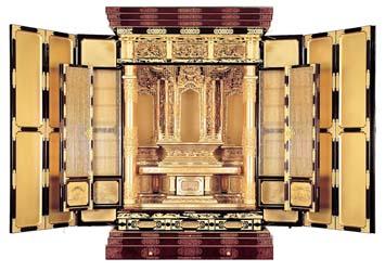 江州型 [浜菊] 本三方開 木出 彫粉 西用 (高さ185×幅124×奥行79cm) ※受注生産 5ヵ月後納品